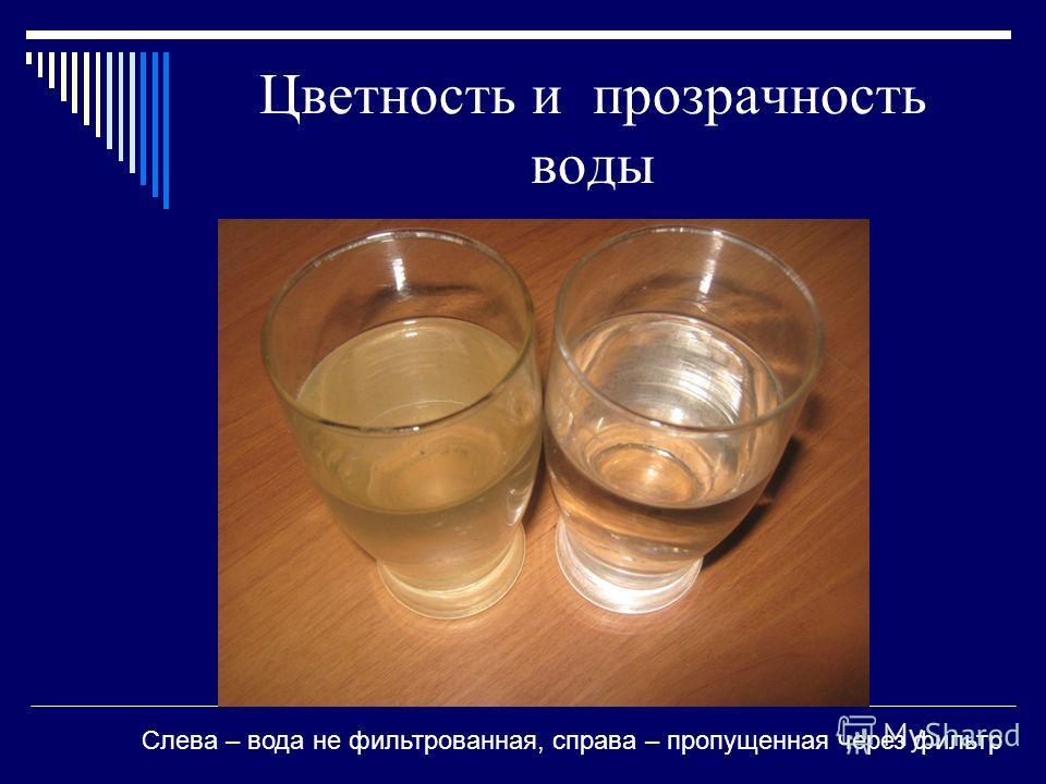 Цветность и прозрачность воды Слева – вода не фильтрованная, справа – пропущенная через фильтр