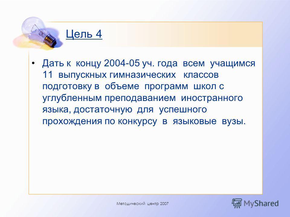 Методический центр 2007 Цель 4 Дать к концу 2004-05 уч. года всем учащимся 11 выпускных гимназических классов подготовку в объеме программ школ с углубленным преподаванием иностранного языка, достаточную для успешного прохождения по конкурсу в языков