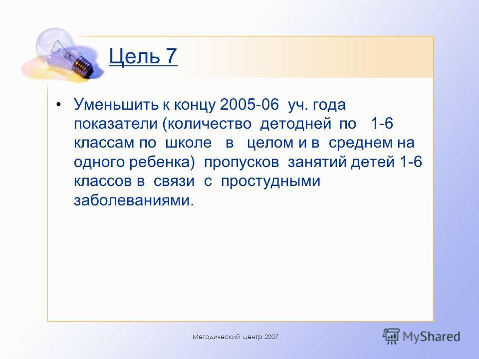Методический центр 2007 Цель 7 Уменьшить к концу 2005-06 уч. года показатели (количество детодней по 1-6 классам по школе в целом и в среднем на одного ребенка) пропусков занятий детей 1-6 классов в связи с простудными заболеваниями.