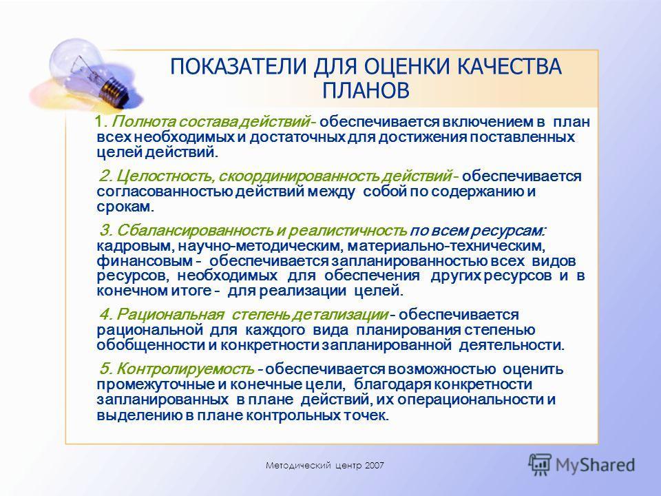Методический центр 2007 ПОКАЗАТЕЛИ ДЛЯ ОЦЕНКИ КАЧЕСТВА ПЛАНОВ 1. Полнота состава действий - обеспечивается включением в план всех необходимых и достаточных для достижения поставленных целей действий. 2. Целостность, скоординированность действий - обе