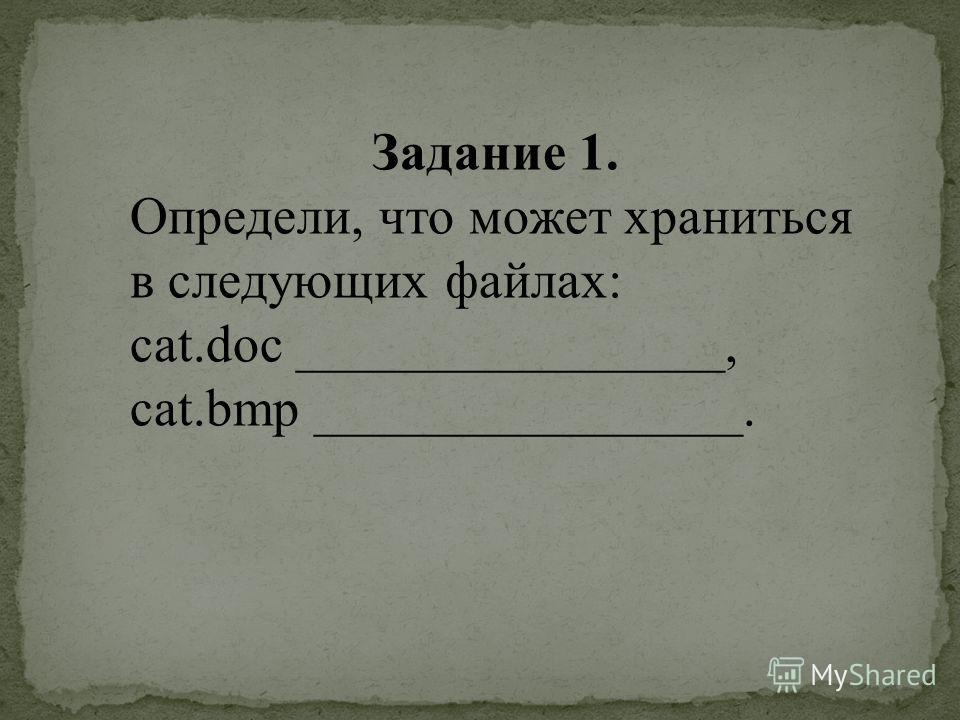 Задание 1. Определи, что может храниться в следующих файлах: cat.doc ________________, cat.bmp ________________.