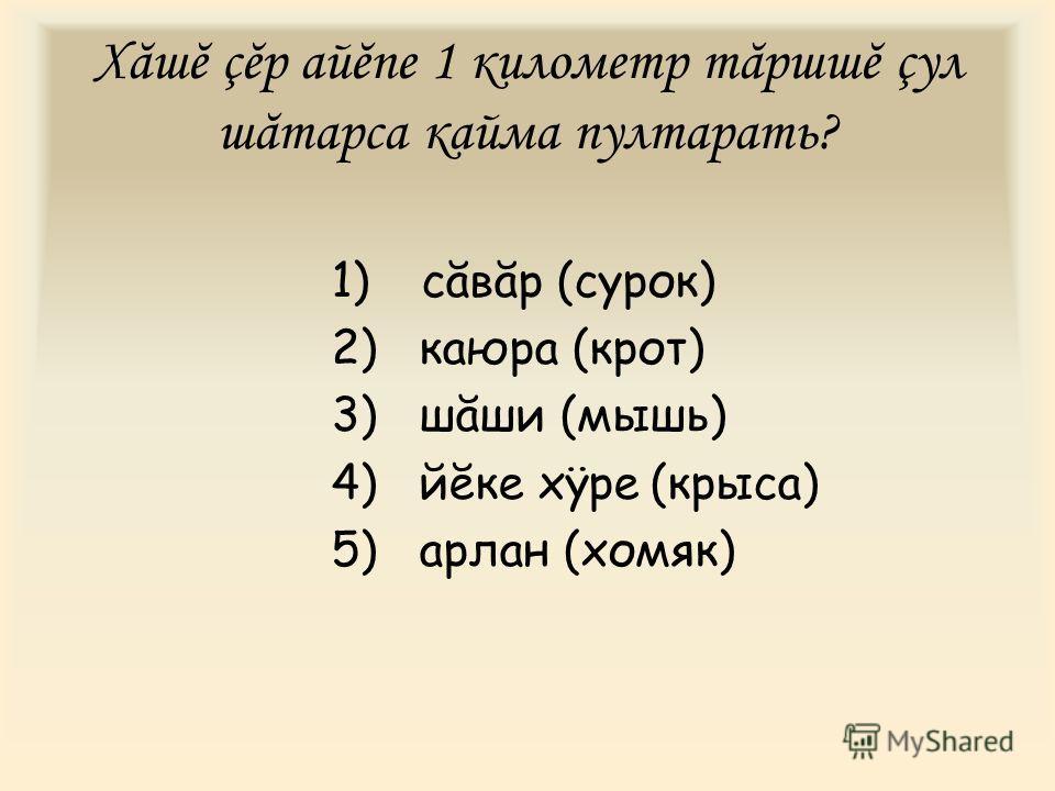 Хăшĕ çĕр айĕпе 1 километр тăршшĕ çул шăтарса кайма пултарать? 1) сăвăр (сурок) 2) каюра (крот) 3) шăши (мышь) 4) йĕке хÿре (крыса) 5) арлан (хомяк)