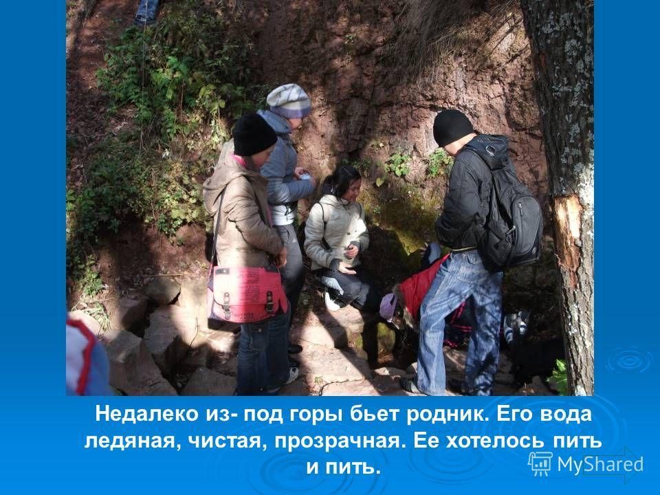 Недалеко из- под горы бьет родник. Его вода ледяная, чистая, прозрачная. Ее хотелось пить и пить.