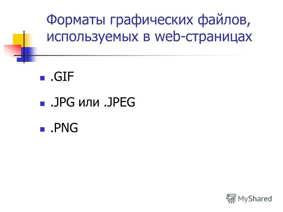 Форматы графических файлов, используемых в web-страницах.GIF.JPG или.JPEG.PNG