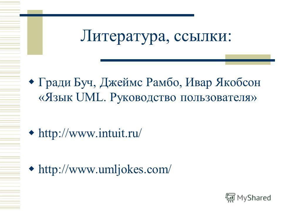Литература, ссылки: Гради Буч, Джеймс Рамбо, Ивар Якобсон «Язык UML. Руководство пользователя» http://www.intuit.ru/ http://www.umljokes.com/