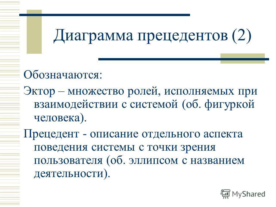 Диаграмма прецедентов (2) Обозначаются: Эктор – множество ролей, исполняемых при взаимодействии с системой (об. фигуркой человека). Прецедент - описание отдельного аспекта поведения системы с точки зрения пользователя (об. эллипсом с названием деятел