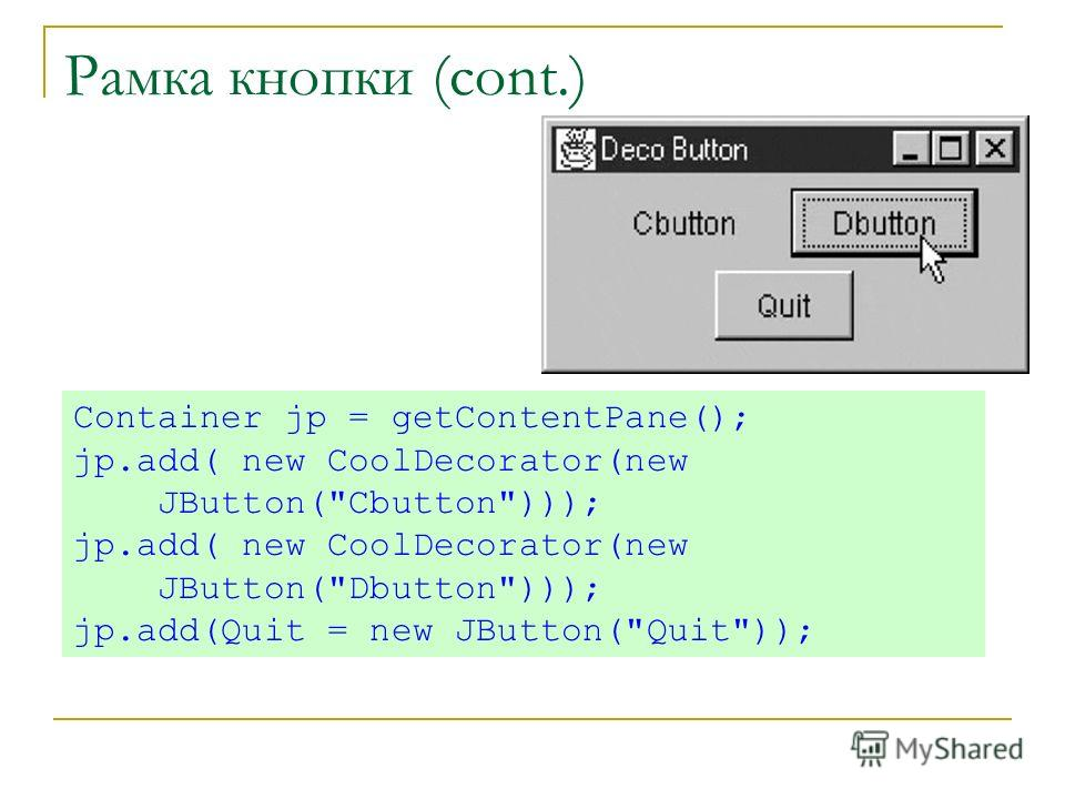 Рамка кнопки (cont.) Container jp = getContentPane(); jp.add( new CoolDecorator(new JButton(Cbutton))); jp.add( new CoolDecorator(new JButton(Dbutton))); jp.add(Quit = new JButton(Quit));
