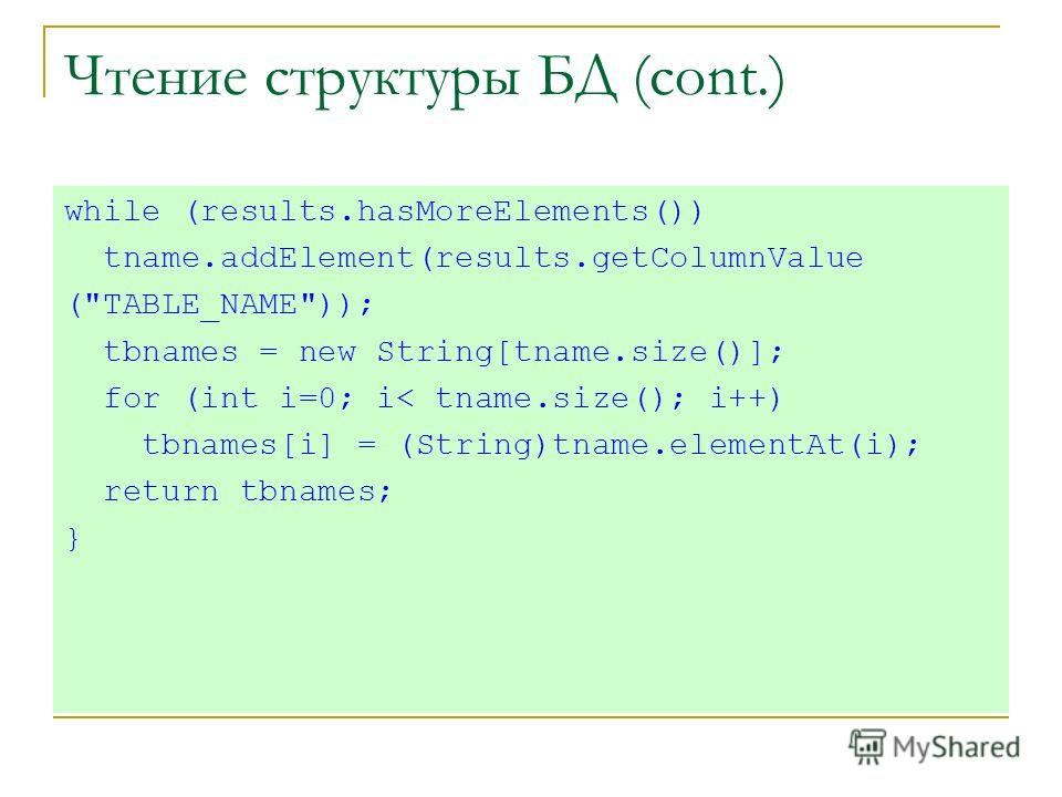 Чтение структуры БД (cont.) while (results.hasMoreElements()) tname.addElement(results.getColumnValue (TABLE_NAME)); tbnames = new String[tname.size()]; for (int i=0; i< tname.size(); i++) tbnames[i] = (String)tname.elementAt(i); return tbnames; }