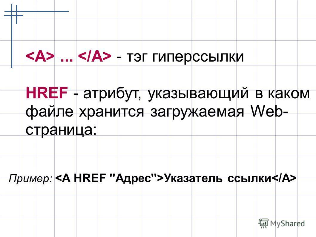 ... - тэг гиперссылки HREF - атрибут, указывающий в каком файле хранится загружаемая Web- страница: Пример: Указатель ссылки