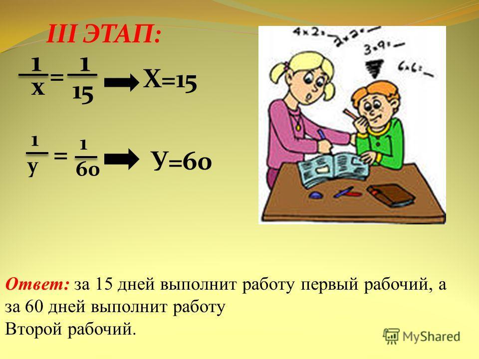 III ЭТАП: 1 х = 1 15 Х=15 1 у = 1 60 У=60 Ответ: за 15 дней выполнит работу первый рабочий, а за 60 дней выполнит работу Второй рабочий.