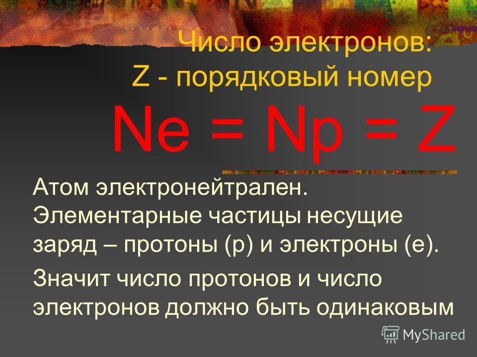 Число электронов: Z - порядковый номер Nе = Np = Z Атом электронейтрален. Элементарные частицы несущие заряд – протоны (р) и электроны (е). Значит число протонов и число электронов должно быть одинаковым