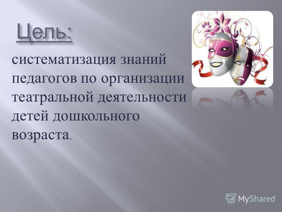 Цель : систематизация знаний педагогов по организации театральной деятельности детей дошкольного возраста.