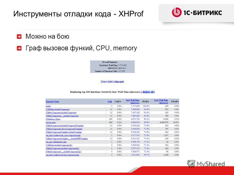 Инструменты отладки кода - XHProf Можно на бою Граф вызовов функий, CPU, memory