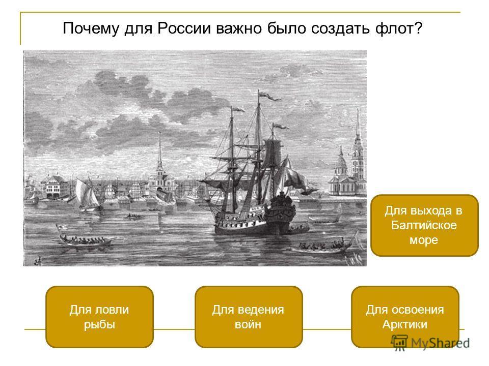 Почему для России важно было создать флот? Для выхода в Балтийское море Для ловли рыбы Для освоения Арктики Для ведения войн