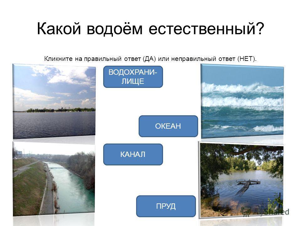 Какой водоём естественный? Кликните на правильный ответ (ДА) или неправильный ответ (НЕТ). ОКЕАН ВОДОХРАНИ- ЛИЩЕ ПРУД КАНАЛ