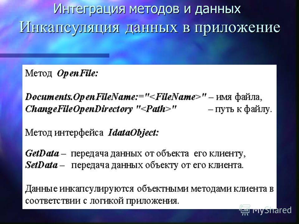 Интеграция методов и данных Инкапсуляция данных в приложение