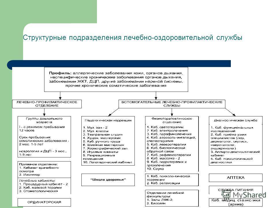 Структурные подразделения лечебно-оздоровительной службы