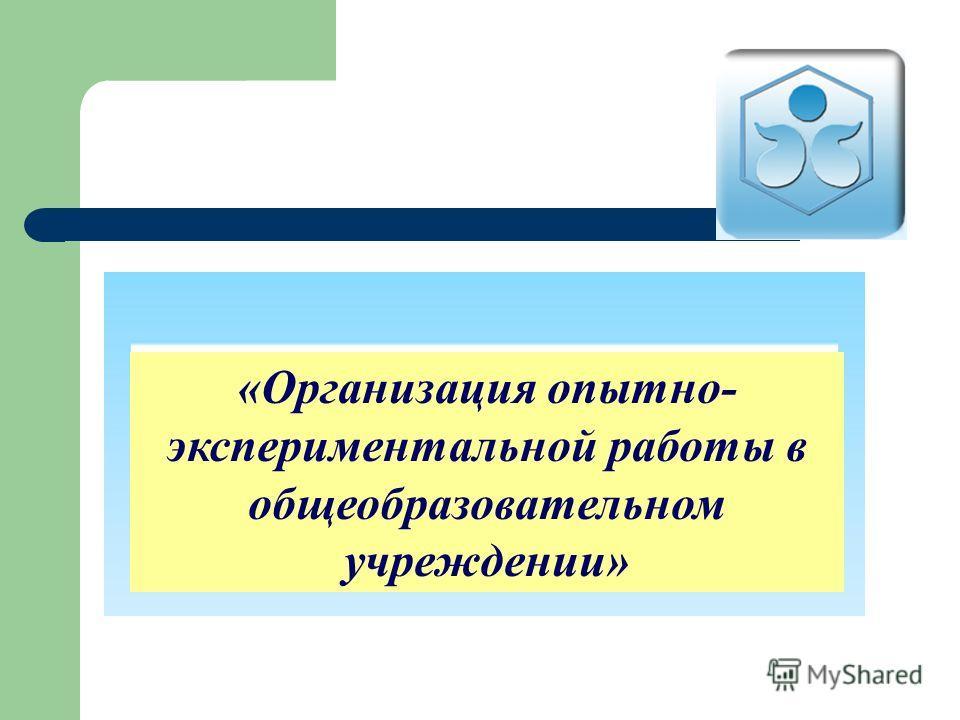 «Организация опытно- экспериментальной работы в общеобразовательном учреждении»