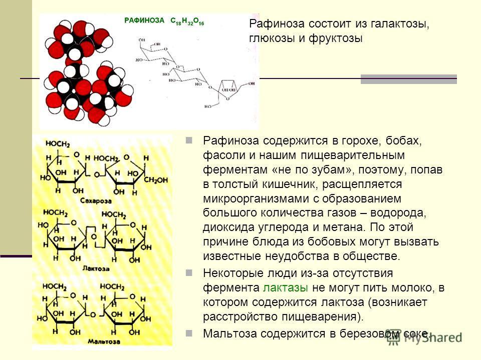 Рафиноза содержится в горохе, бобах, фасоли и нашим пищеварительным ферментам «не по зубам», поэтому, попав в толстый кишечник, расщепляется микроорганизмами с образованием большого количества газов – водорода, диоксида углерода и метана. По этой при