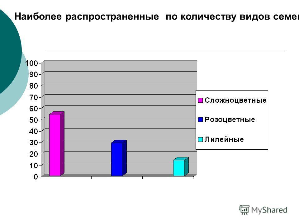 Наиболее распространенные по количеству видов семейства.