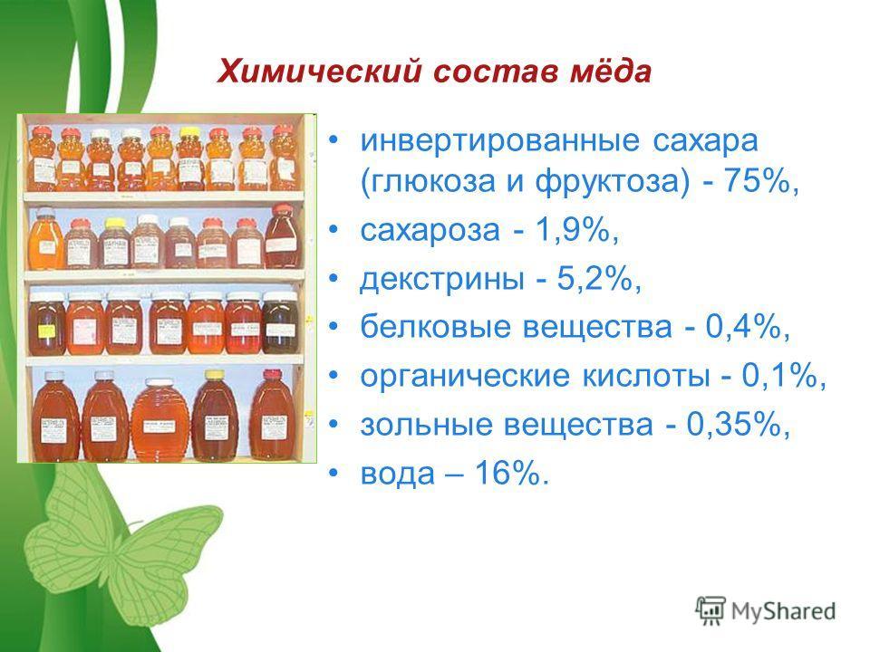 Free Powerpoint TemplatesPage 13 Химический состав мёда инвертированные сахара (глюкоза и фруктоза) - 75%, сахароза - 1,9%, декстрины - 5,2%, белковые вещества - 0,4%, органические кислоты - 0,1%, зольные вещества - 0,35%, вода – 16%.