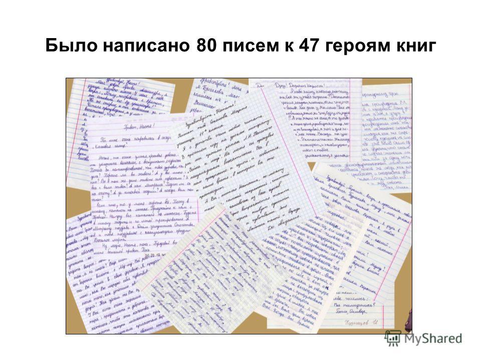 Было написано 80 писем к 47 героям книг
