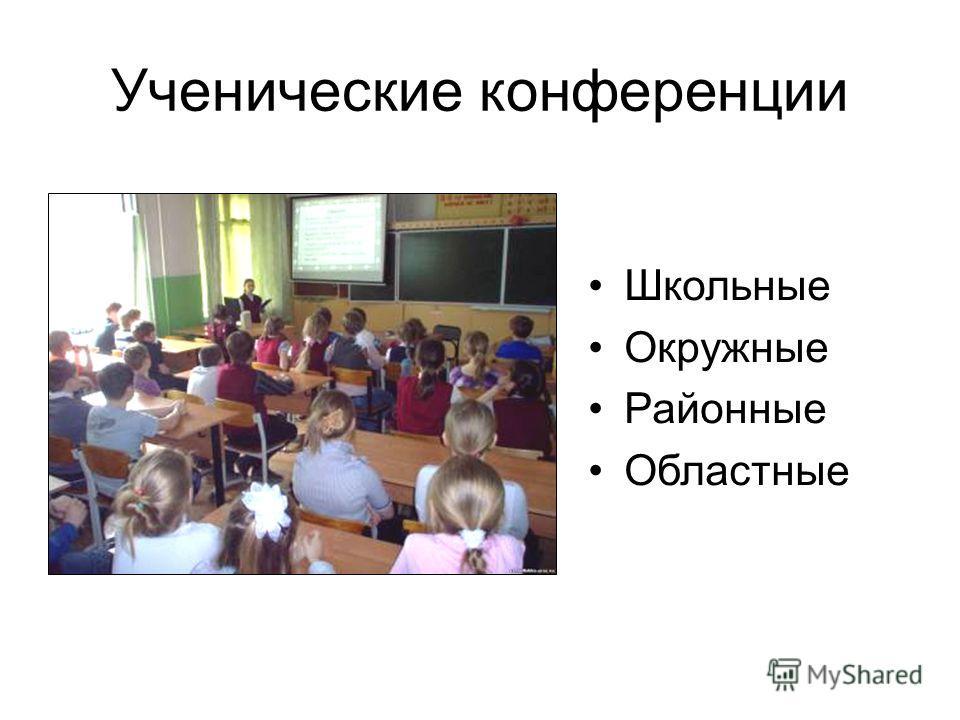 Ученические конференции Школьные Окружные Районные Областные