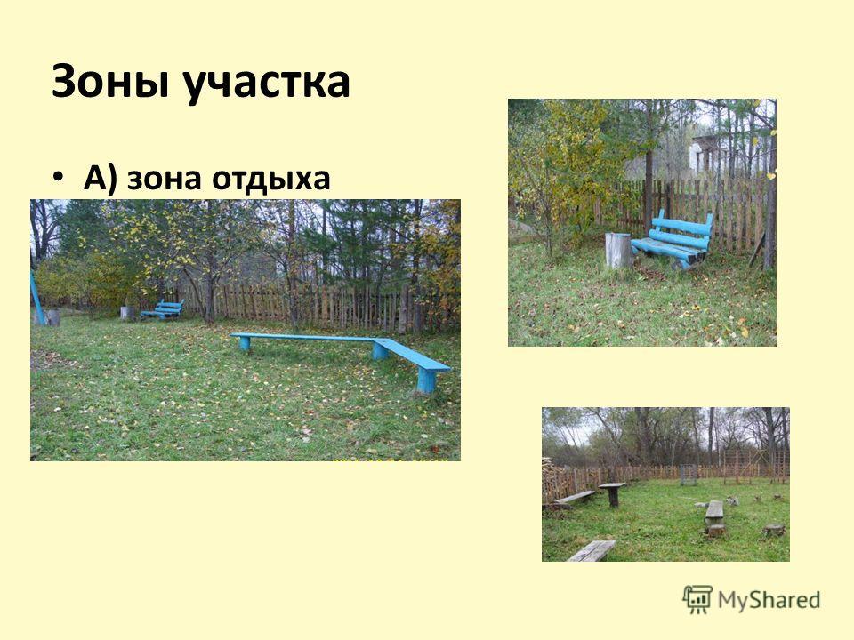 Зоны участка А) зона отдыха