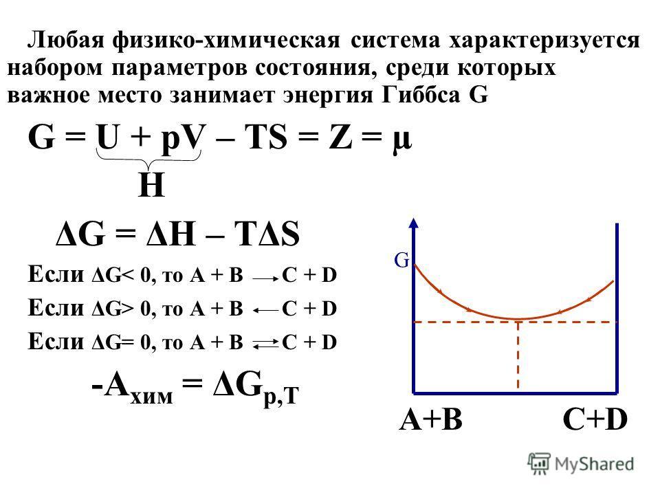 Любая физико-химическая система характеризуется набором параметров состояния, среди которых важное место занимает энергия Гиббса G G = U + pV – TS = Z = µ H ΔG = ΔH – TΔS Если ΔG< 0, то А + В С + D Если ΔG> 0, то А + В С + D Если ΔG= 0, то А + В С +