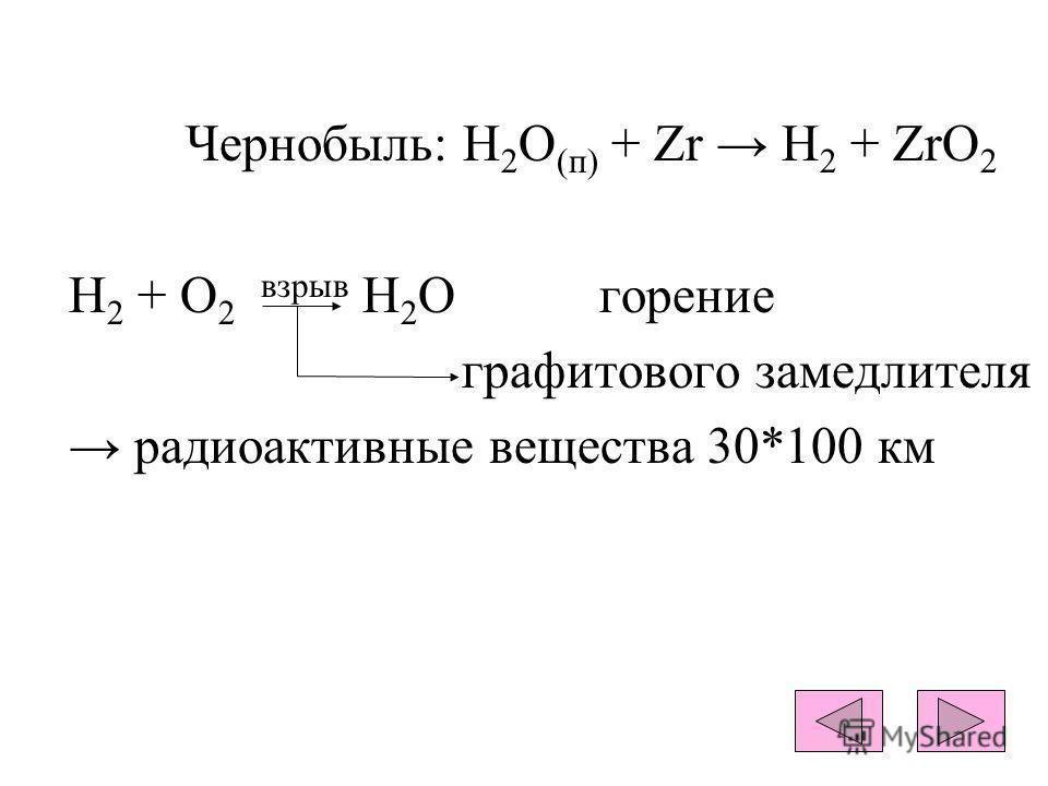 Чернобыль: H 2 O (п) + Zr H 2 + ZrO 2 H 2 + O 2 взрыв Н 2 О горение графитового замедлителя радиоактивные вещества 30*100 км