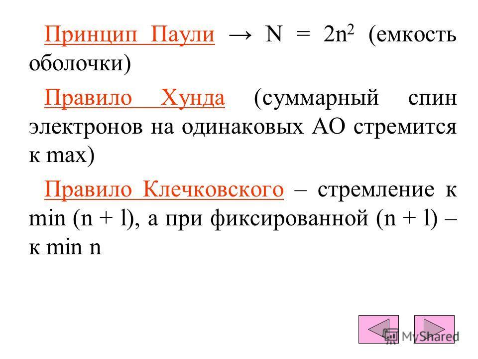 Принцип Паули N = 2n 2 (емкость оболочки) Правило Хунда (суммарный спин электронов на одинаковых АО стремится к max) Правило Клечковского – стремление к min (n + l), а при фиксированной (n + l) – к min n