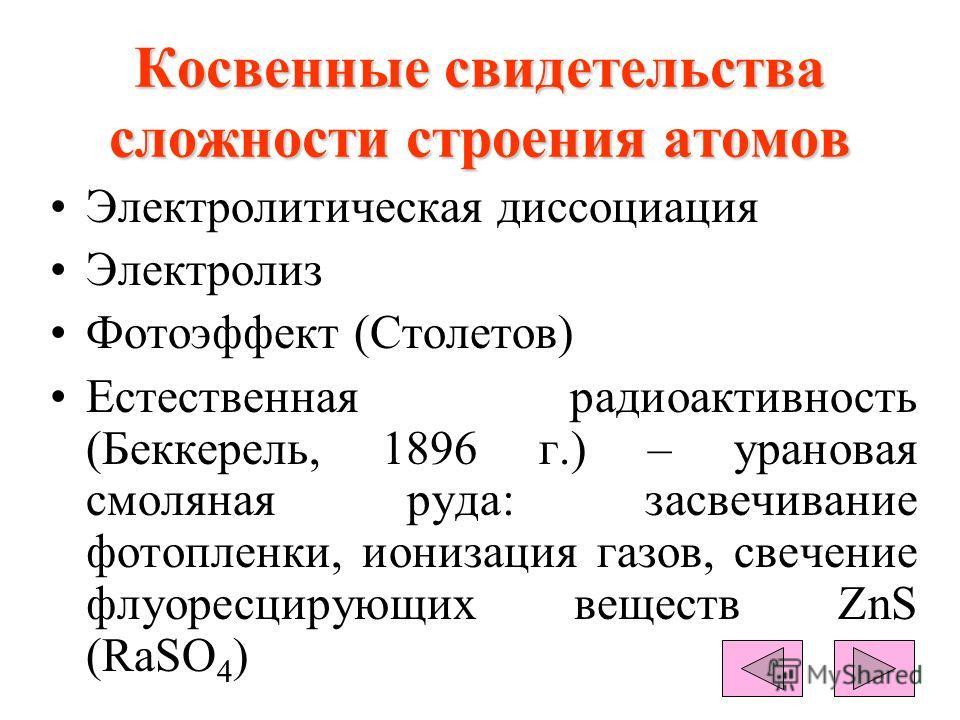 Косвенные свидетельства сложности строения атомов Электролитическая диссоциация Электролиз Фотоэффект (Столетов) Естественная радиоактивность (Беккерель, 1896 г.) – урановая смоляная руда: засвечивание фотопленки, ионизация газов, свечение флуоресцир
