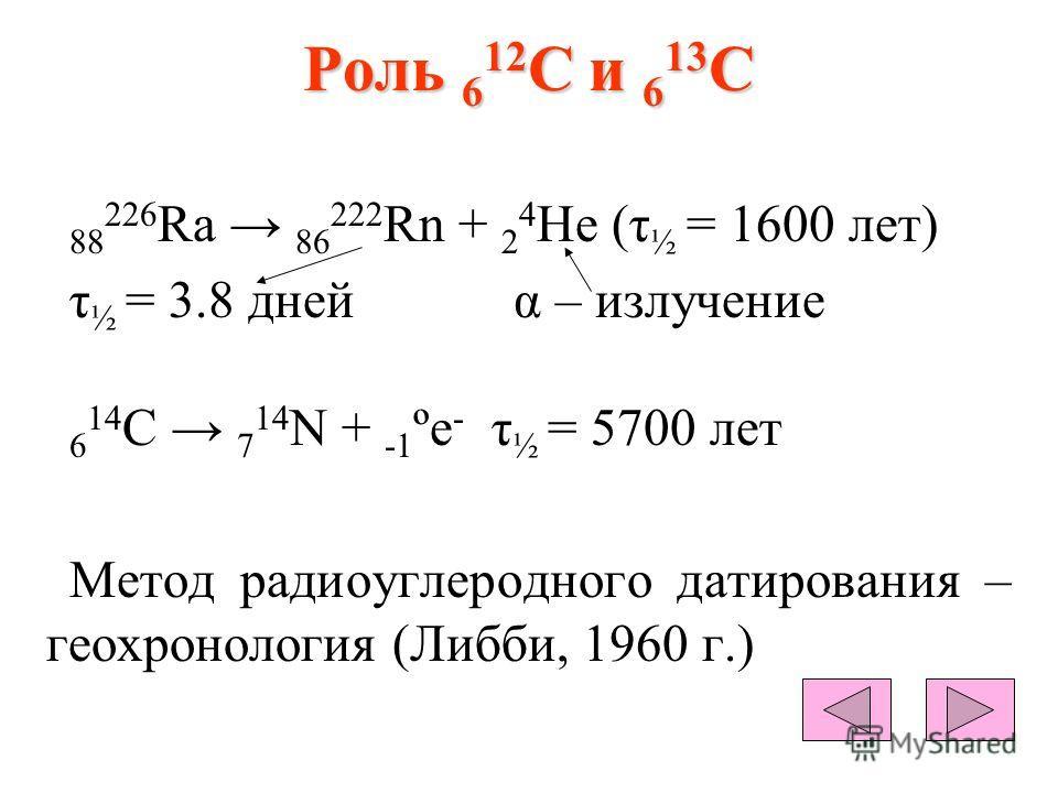Роль 6 12 С и 6 13 С 88 226 Ra 86 222 Rn + 2 4 He (τ ½ = 1600 лет) τ ½ = 3.8 дней α – излучение 6 14 С 7 14 N + -1 ºe - τ ½ = 5700 лет Метод радиоуглеродного датирования – геохронология (Либби, 1960 г.)