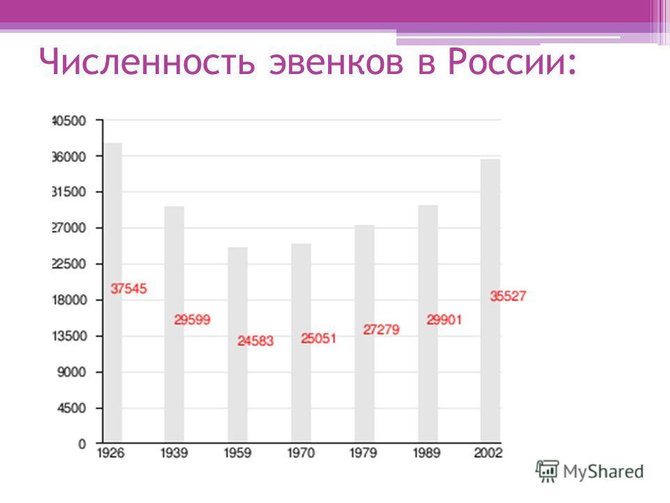 Численность эвенков в России: