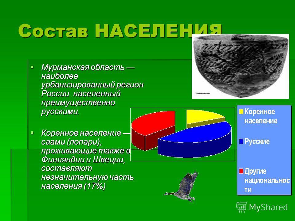 Состав НАСЕЛЕНИЯ Мурманская область наиболее урбанизированный регион России населенный преимущественно русскими. Мурманская область наиболее урбанизированный регион России населенный преимущественно русскими. Коренное население саами (лопари), прожив