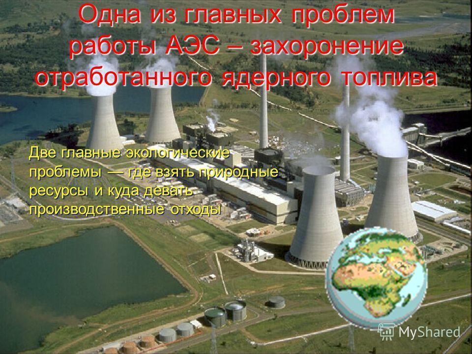 Одна из главных проблем работы АЭС – захоронение отработанного ядерного топлива Две главные экологические проблемы где взять природные ресурсы и куда девать производственные отходы