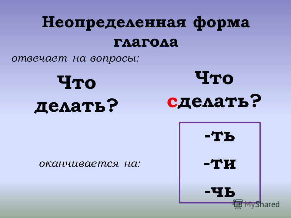 Неопределенная форма глагола Что делать? Что сделать? отвечает на вопросы: оканчивается на: -ть -ти -чь