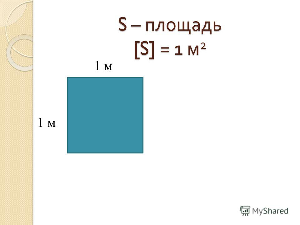 S – площадь [S] = 1 м 2 1 м