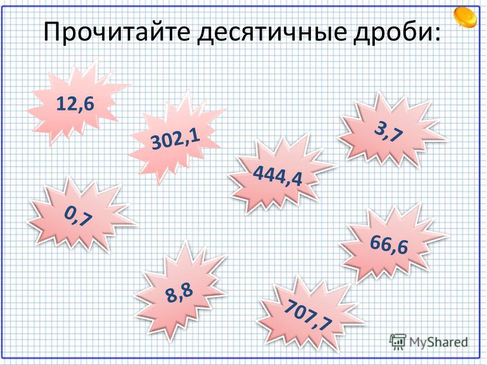Прочитайте десятичные дроби: 3,7 12,6 302,1 444,4 0,7 8,8 66,6 707,7