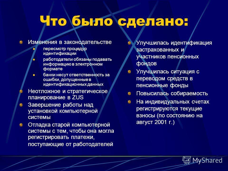 Сложности с внедрением УНС в Польше Административный аппарат не был подготовлен Сложности с внедрением новой компьютерной системы Ухудшение собираемости взносов Проблемы с должной идентификацией застрахованных и плательщиков взносов