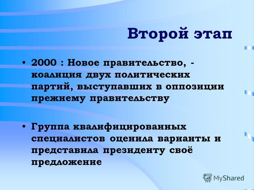 Второй этап 2000 : Новое правительство, - коалиция двух политических партий, выступавших в оппозиции прежнему правительству Группа квалифицированных специалистов оценила варианты и представила президенту своё предложение