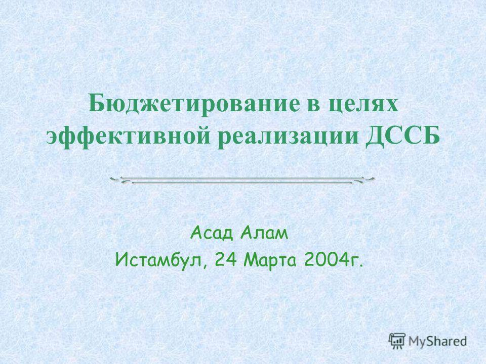 Бюджетирование в целях эффективной реализации ДССБ Асад Алам Истамбул, 24 Марта 2004г.