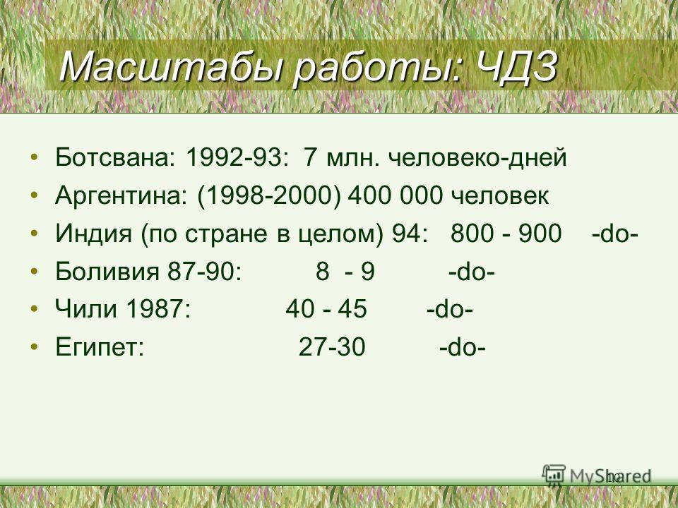 10 Масштабы работы: ЧДЗ Ботсвана: 1992-93: 7 млн. человеко-дней Аргентина: (1998-2000) 400 000 человек Индия (по стране в целом) 94: 800 - 900 -do- Боливия 87-90: 8 - 9 -do- Чили 1987: 40 - 45 -do- Египет: 27-30 -do-