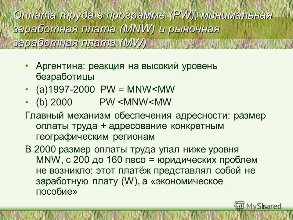 14 Оплата труда в программе (PW), минимальная заработная плата (MNW) и рыночная заработная плата (MW) Аргентина: реакция на высокий уровень безработицы (a)1997-2000 PW = MNW