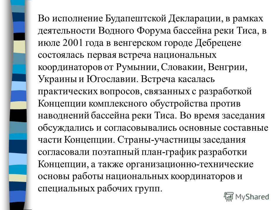 Во исполнение Будапештской Декларации, в рамках деятельности Водного Форума бассейна реки Тиса, в июле 2001 года в венгерском городе Дебрецене состоялась первая встреча национальных координаторов от Румынии, Словакии, Венгрии, Украины и Югославии. Вс