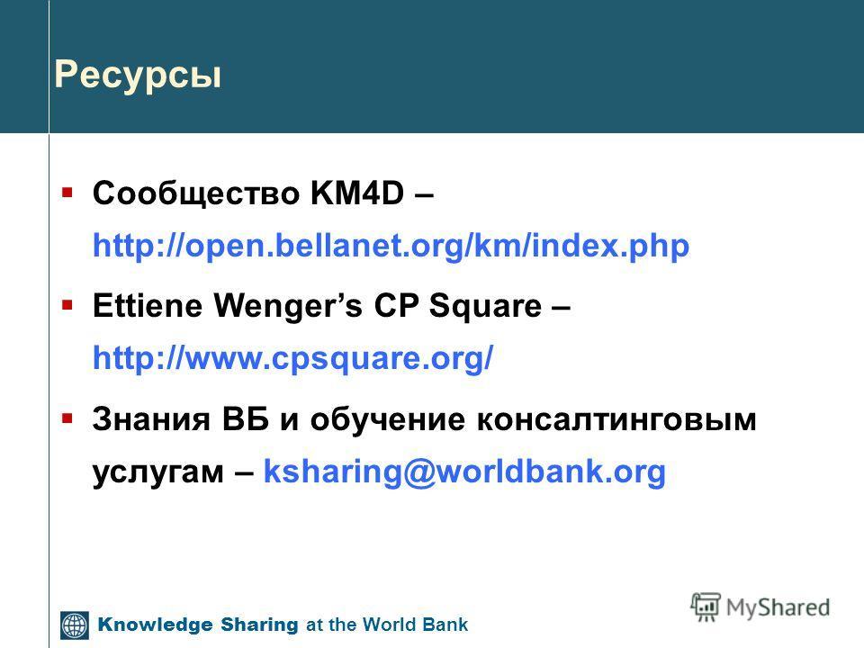 Ресурсы Сообщество KM4D – http://open.bellanet.org/km/index.php Ettiene Wengers CP Square – http://www.cpsquare.org/ Знания ВБ и обучение консалтинговым услугам – ksharing@worldbank.org