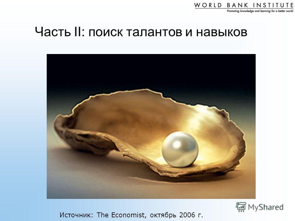 Часть II: поиск талантов и навыков Источник: The Economist, октябрь 2006 г.