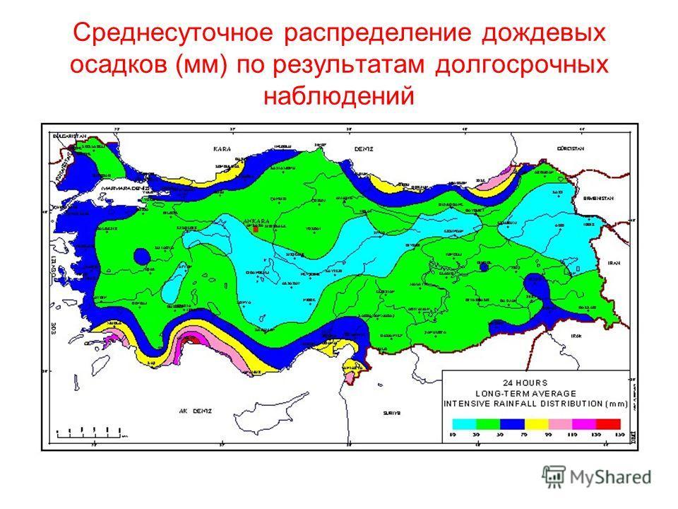 Среднесуточное распределение дождевых осадков (мм) по результатам долгосрочных наблюдений