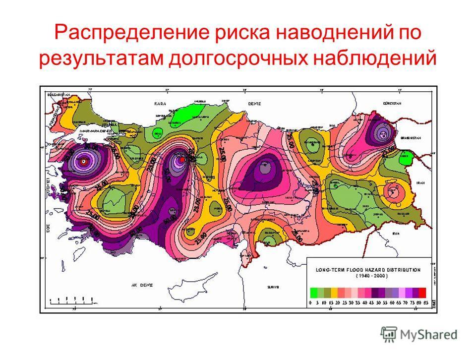 Распределение риска наводнений по результатам долгосрочных наблюдений