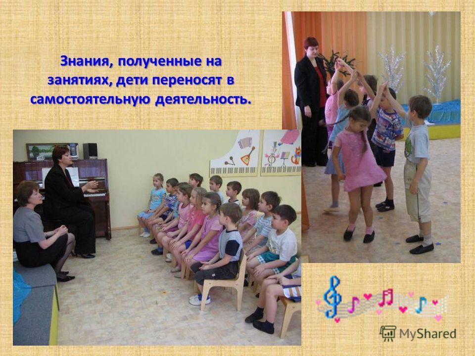 Знания, полученные на занятиях, дети переносят в самостоятельную деятельность.